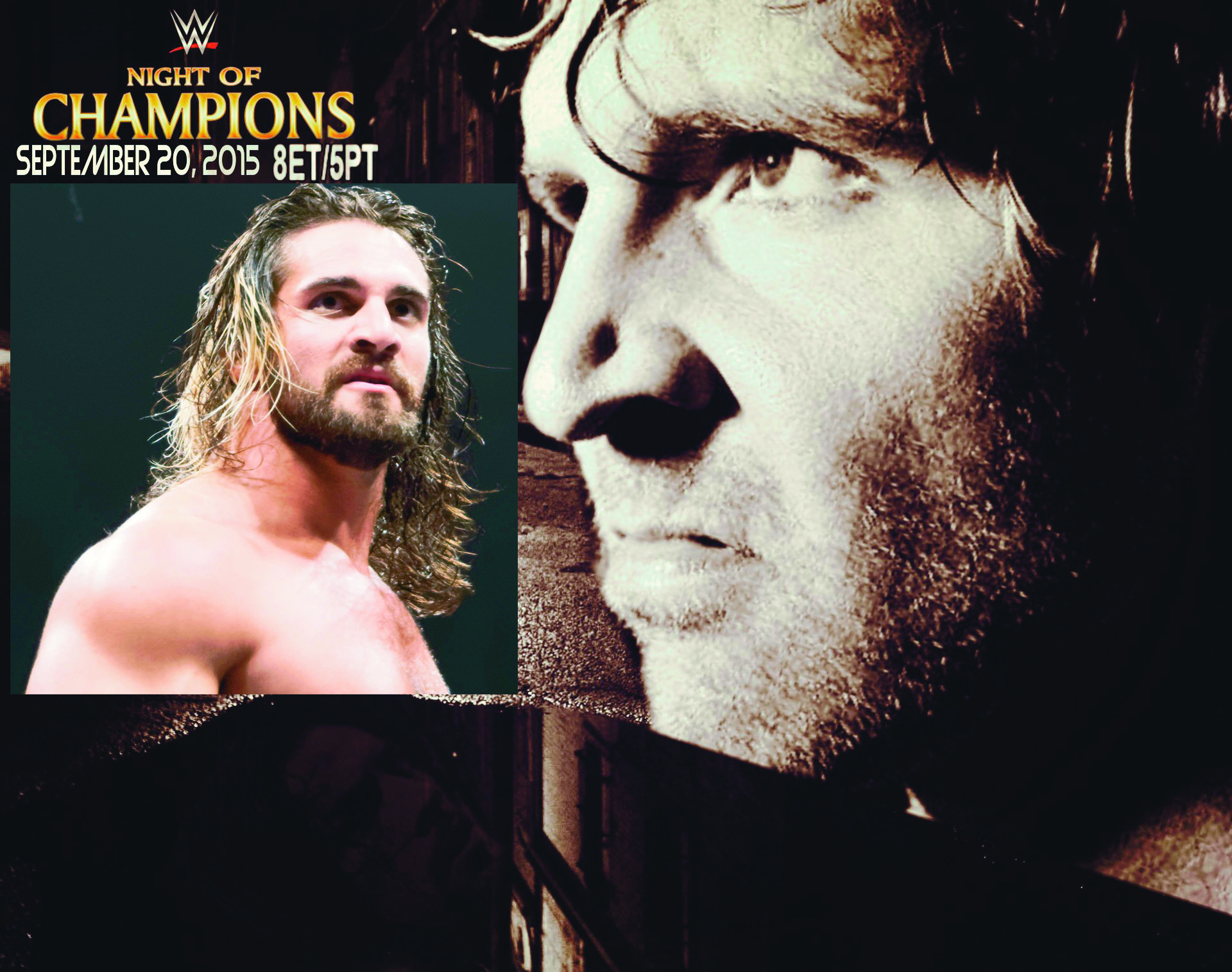 Dean Ambrose stares menacingly over inset Seth Rollins. (credit: Background: WBLZBlazin108, Inset: Miguel Discart)