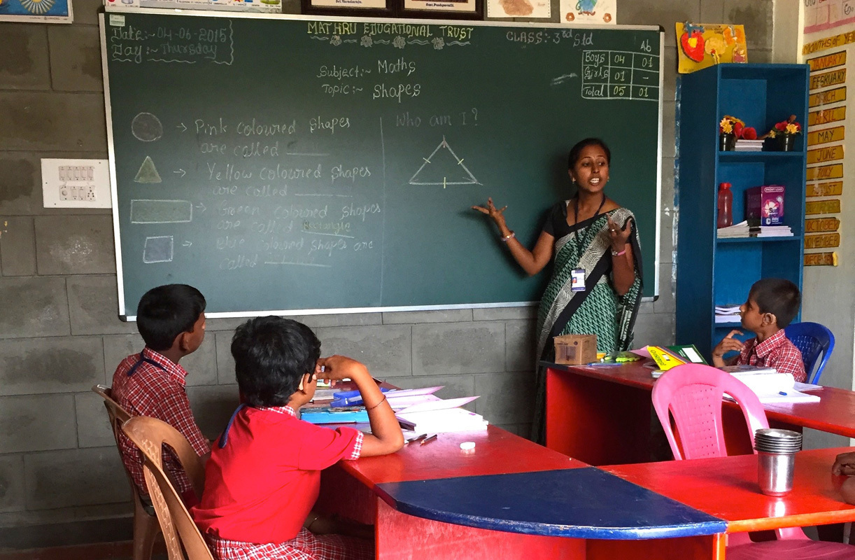 Teacher at the Mathru Center engaging with her students. (credit: Erik Pintar)