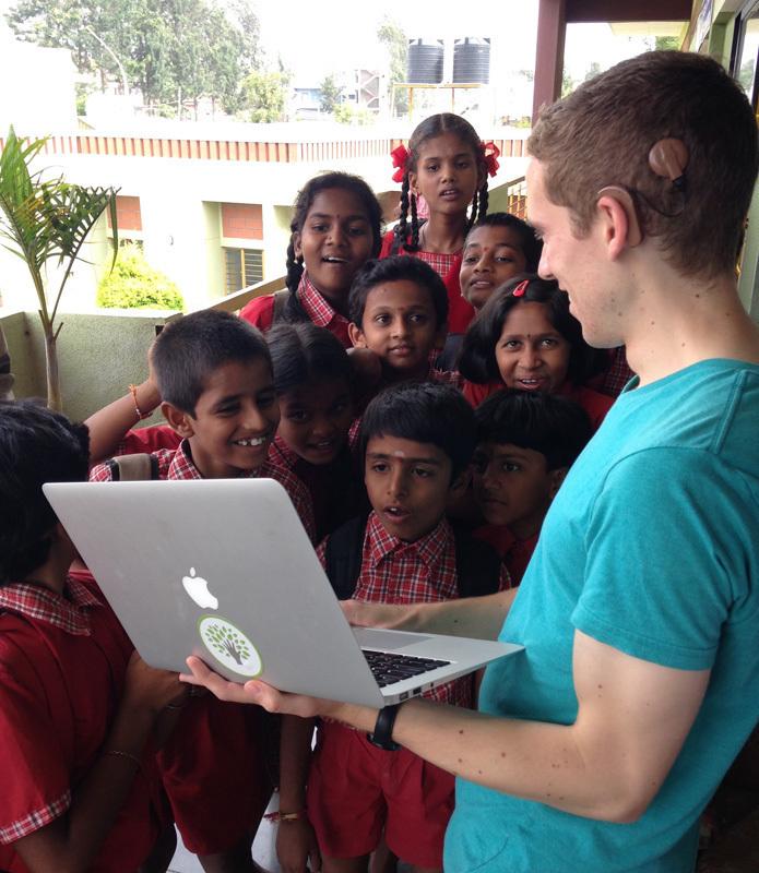 Erik Pintar with children from the Mathru Center. (credit: Erik Pintar)