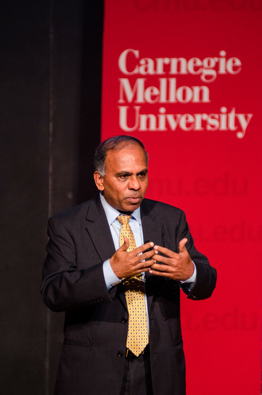 University President Subra Suresh addressed concerns on diversity, university funding, and more at the town hall event last Wednesday. (credit: Abhinav Gautam/Photo Editor)