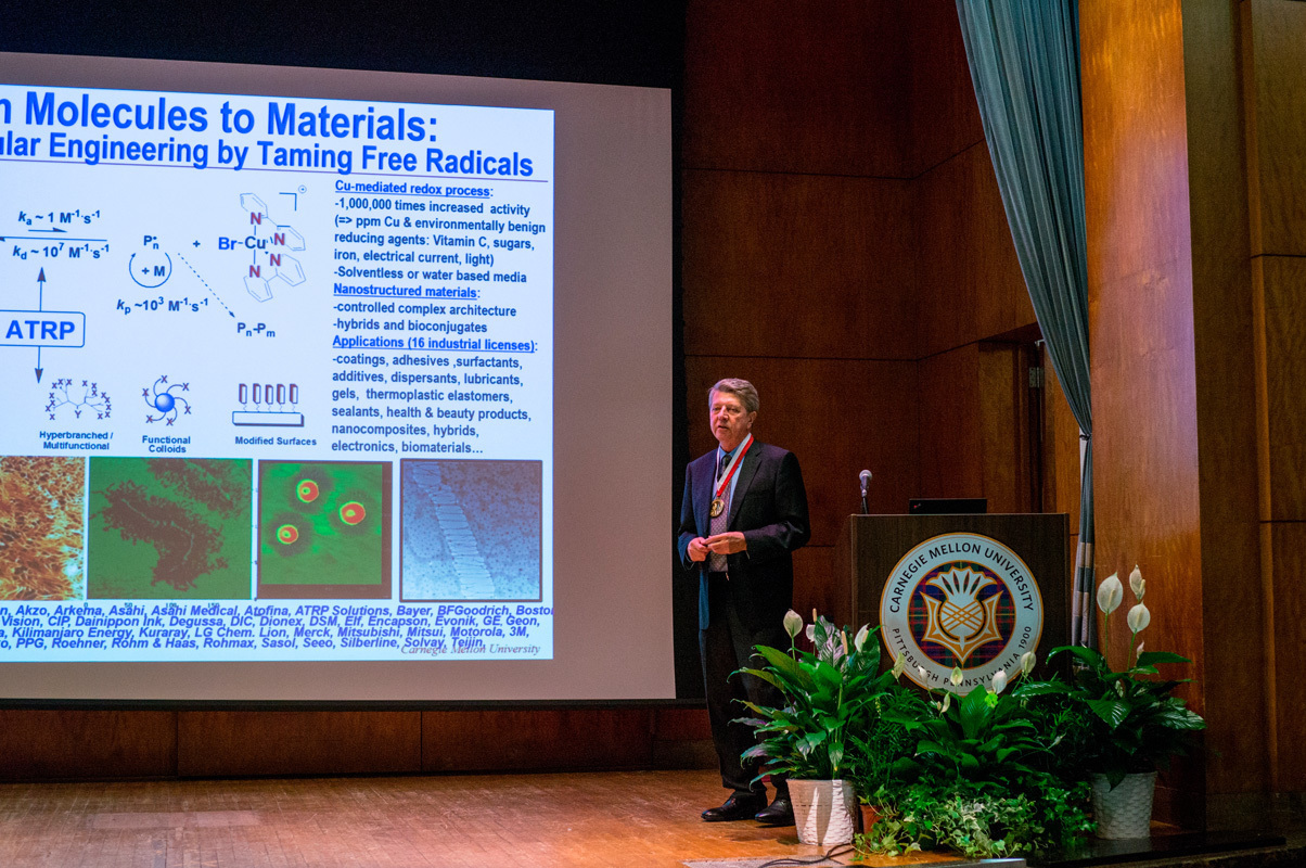 Krzysztof Matyjaszewski, a J. C. Warner University Professor of Natural Sciences at Carnegie Mellon, spoke at the Dreyfus Awards, where he was given the 2015 Dreyfus prize.  (credit: Abhinav Gautam/Photo Editor)