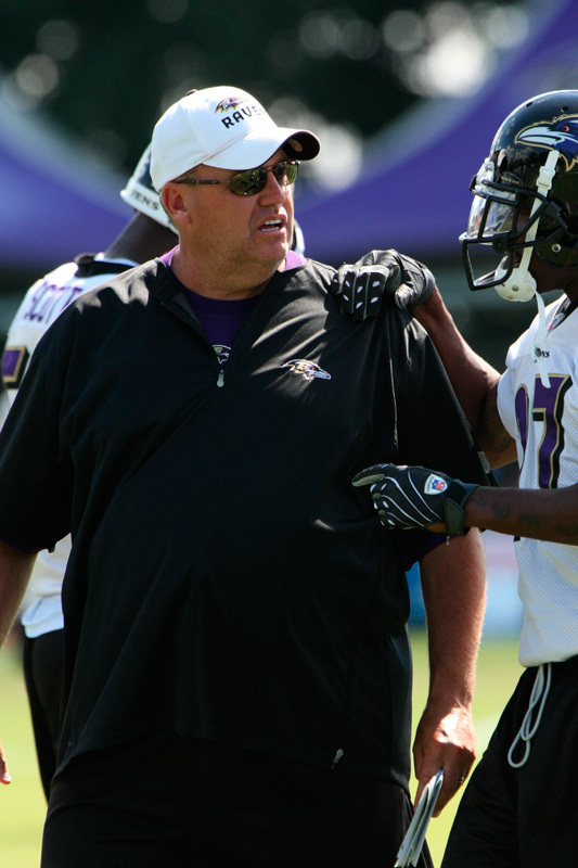 Rex Ryan talks to a player as the Ravens defensive coordinator. (credit: Courtesy of Keith Allison via Flickr Creative Commons)
