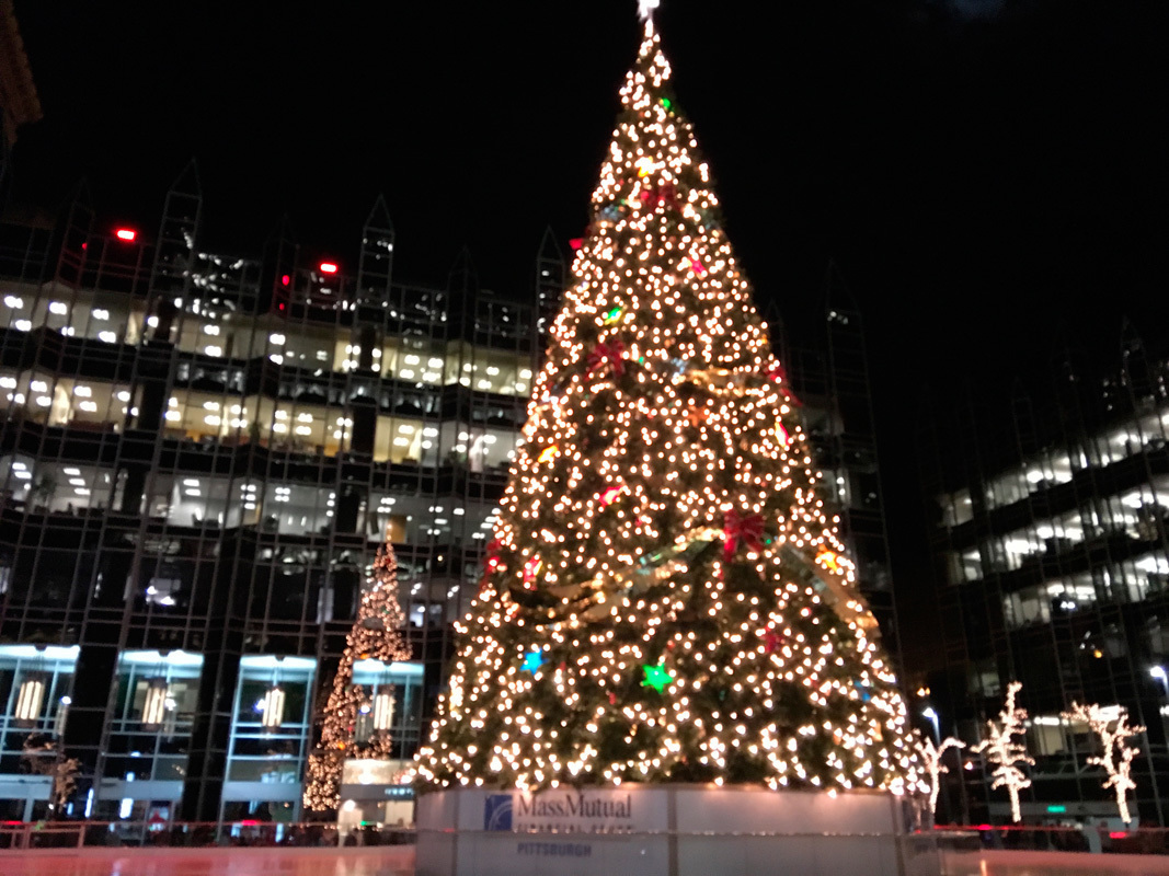 One of the focal points of the lights downtown is this enormous Christmas tree that makes the bus trip totally worth it, even if it is a little early for Christmas decorations.  (credit: Brian Trimboli/Editor-in-Chief)