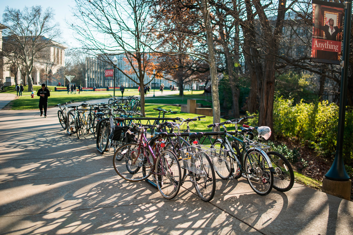 The removal of bike racks around campus has prompted many to question Carnegie Mellon's dedication to biking culture on campus, while many improvments around the city indicate that it will soon be a better place to bike. (credit: Brandon Hong/)