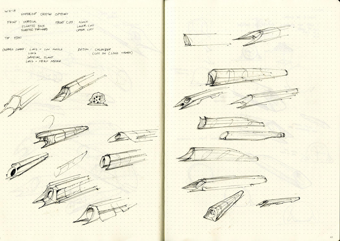 Early ideation designs for the Hyperloop pod. (credit: CMU Hyperloop)