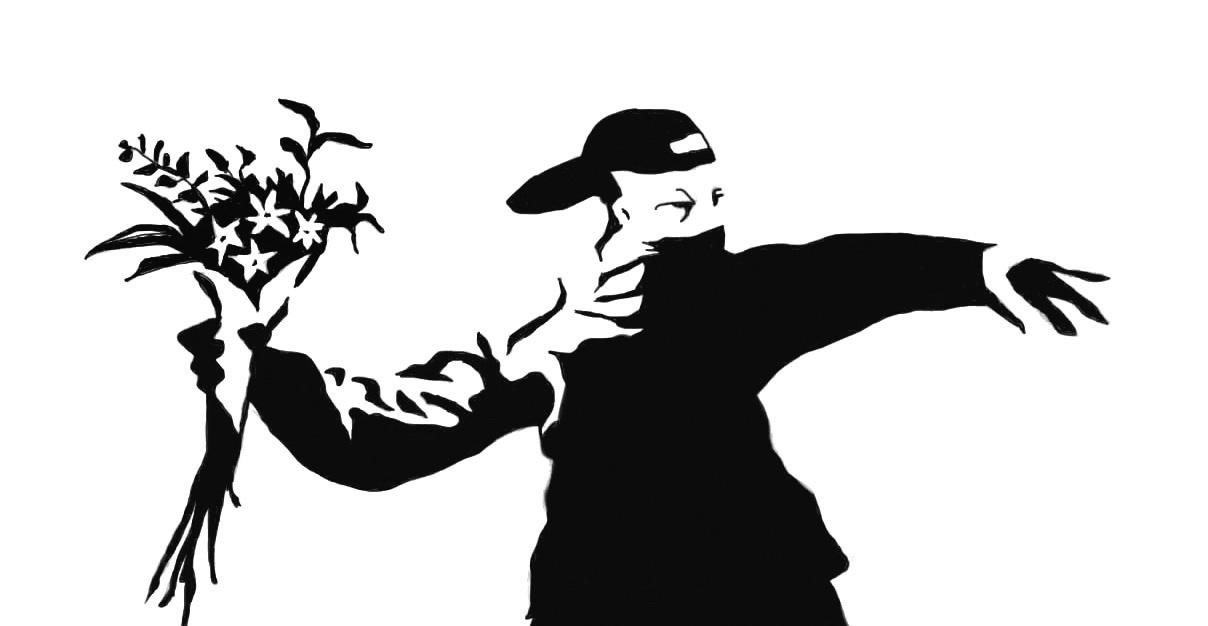 "One of Banksy's most famous works - ""Rage, flower thrower."""