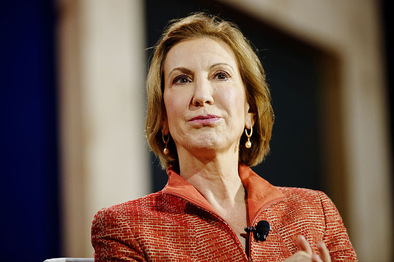 Carly Fiorina speaks at a campaign stop. (credit: Courtesy of Mike Vadon via Wikimedia Commons)