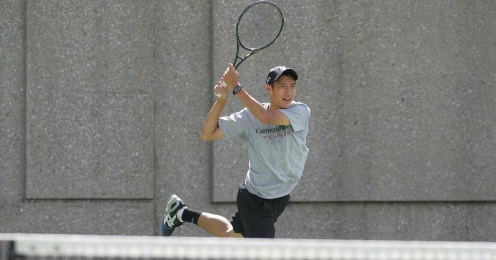 Sophomore Jeffrey Chen connects with a backhand swing on Saturday. (credit: Photo Courtesy of CMU Athletics)