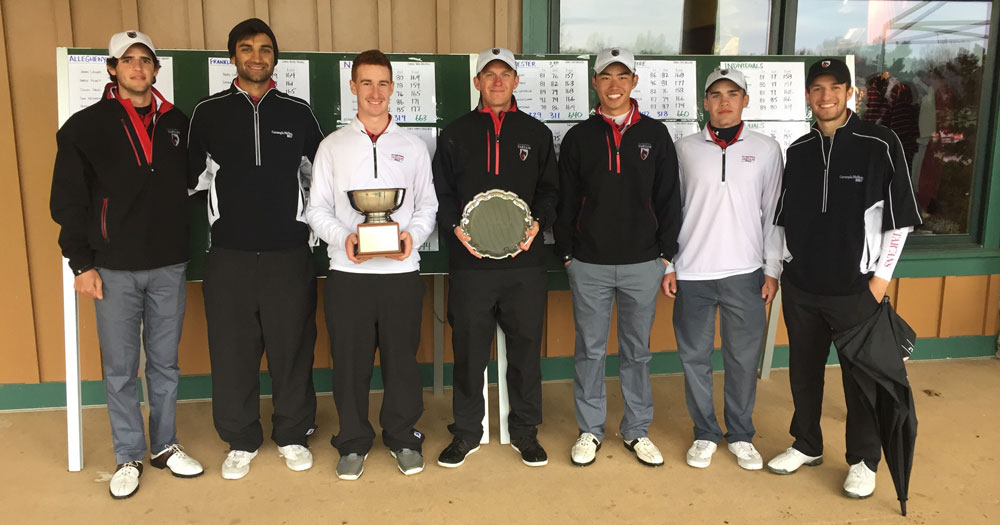 Tartan golf players celebrate the win at the Hershey Cup meet on April 4. (credit: Courtesy of CMU Athletics)