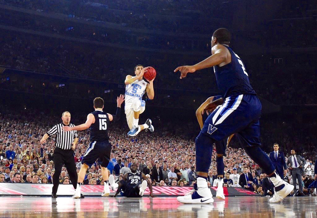 UNC's Marcus Paige jumps for a last second tying shot against Villanova. (credit: Courtesy of James W. Neal via Flickr Creative Commons)