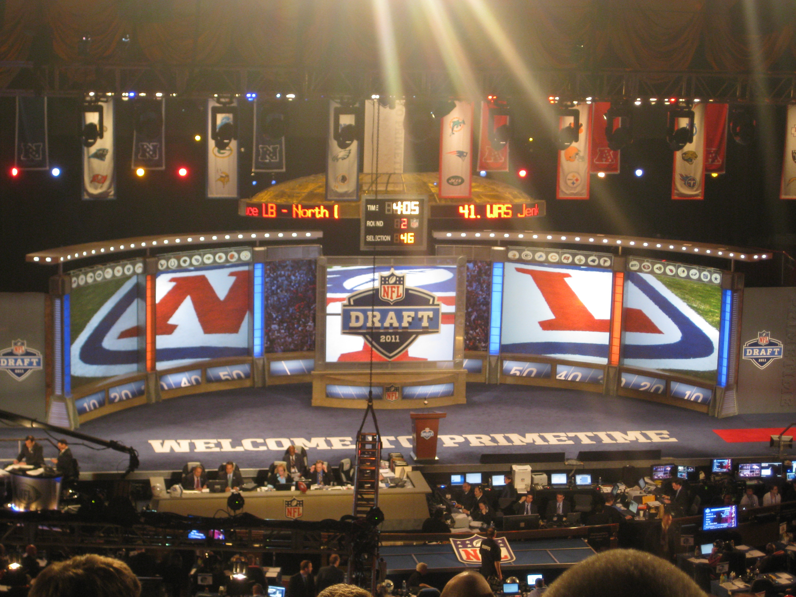 The stage at the NFL Draft, where wide-eyed college football stars learn their fate in the professional league. (credit: Courtesy of Marques Stewart via Flickr Creative Commons)