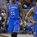 Kevin Durant and two Thunder teammates look distraught during a game, a familiar image for fans this season.