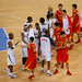 The members of the United States men's basketball team shake hands the with those in the Chinese men's team after beating them in Beijing in 2008.