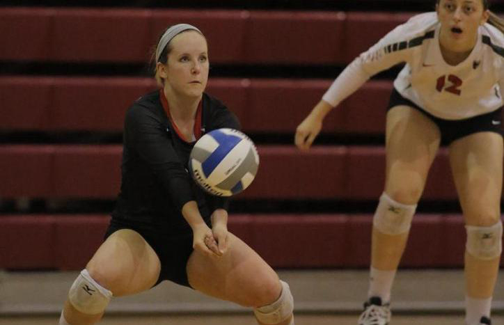 Senior libero Molly Higgins focuses on bumping the ball across the court. (credit: Courtesy of CMU Athletics)