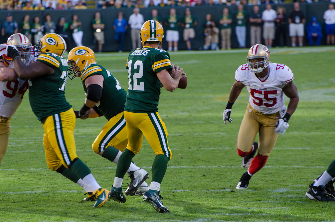Packers quarterback Aaron Rodgers has been a consistent fantasy pick. (credit: Courtesy of Mike Morbeck via Flickr Creative Commons)