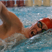 A Carnegie Mellon swimmer slices his way through the water at the Kenyon College Invitational this weekend.