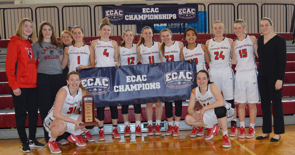 The women's basketball team poses after winning the ECAC final. (credit: CMU Athletics)