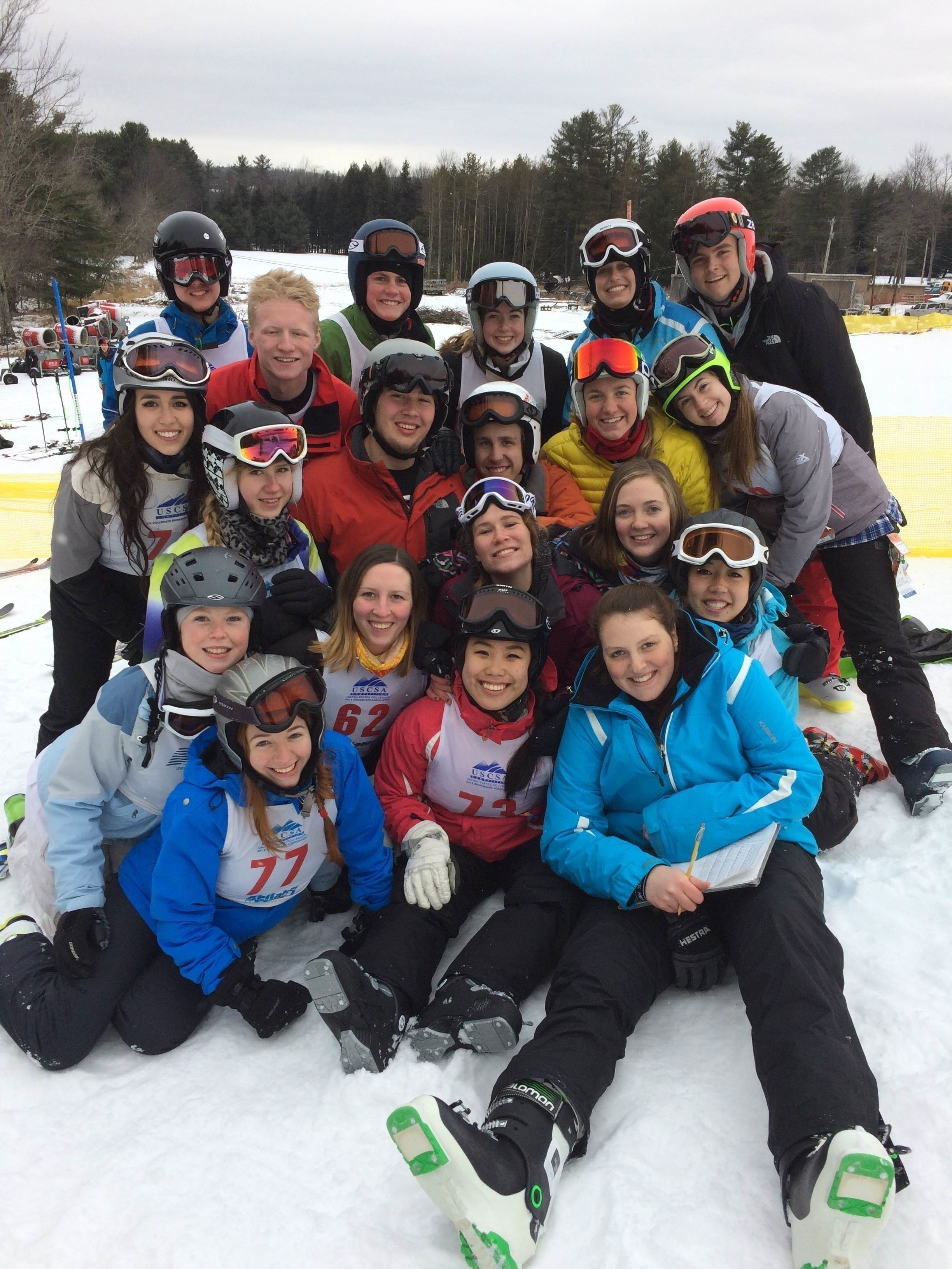 The ski and snowboard team poses together after a competition. (credit: Sloane Macklin)