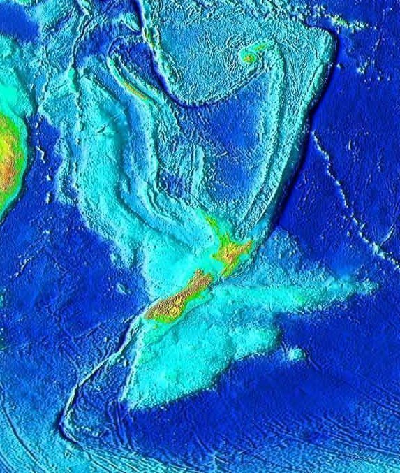 A topographical image of the ocean floor surrounding New Zealand, showing the area of Zealandia (center).  (credit: Courtesy of Wikimedia Commons )