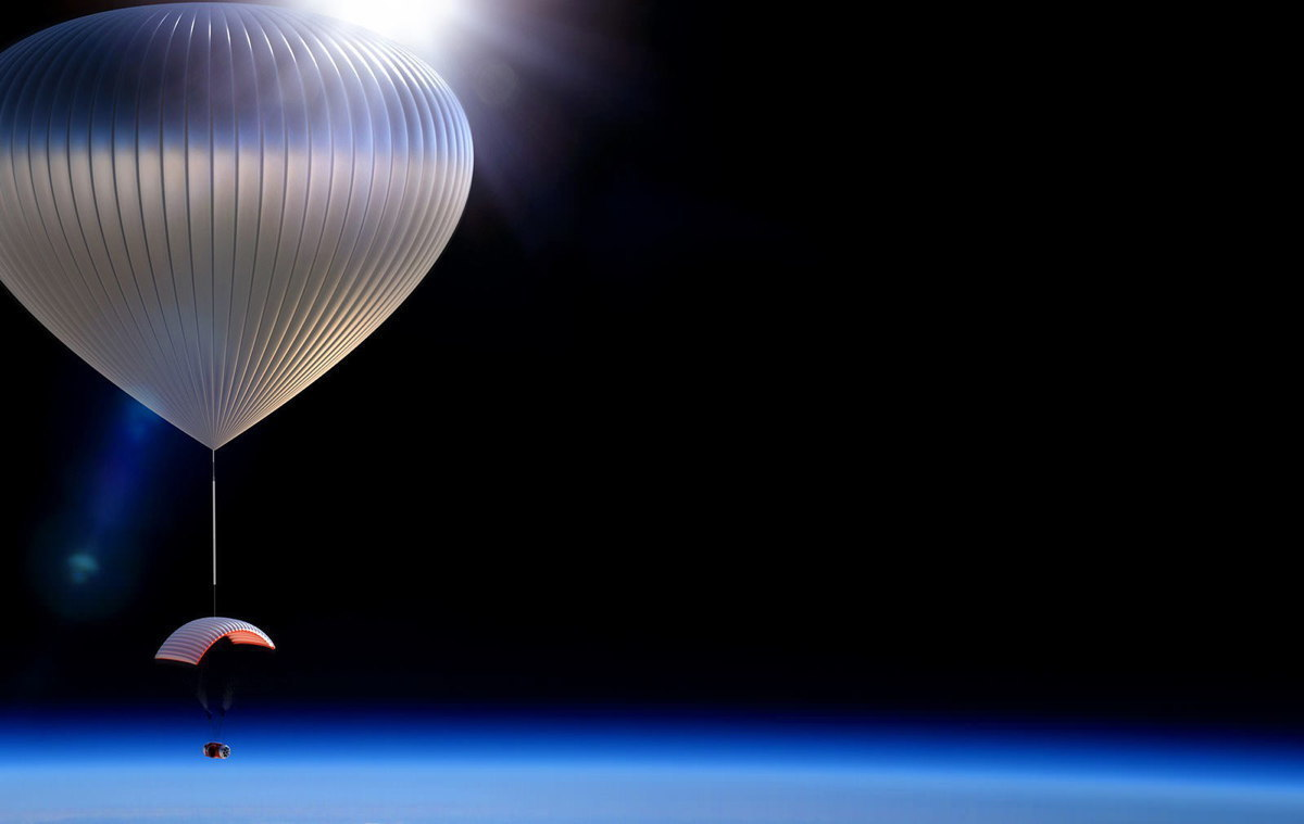 An image of World View Enterprise's Stratollite in the stratosphere. (credit: Courtesy of Space.com)