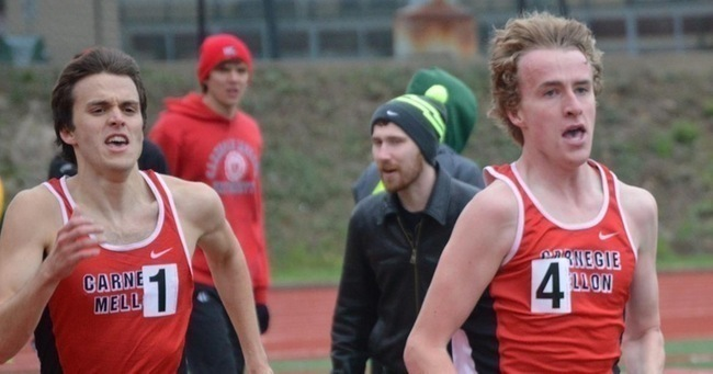 Sophomores Jared Moore (left) and William Mitchell (right) in a tightly contested finish in the 3000-meter run. (credit: CMU Athletics)