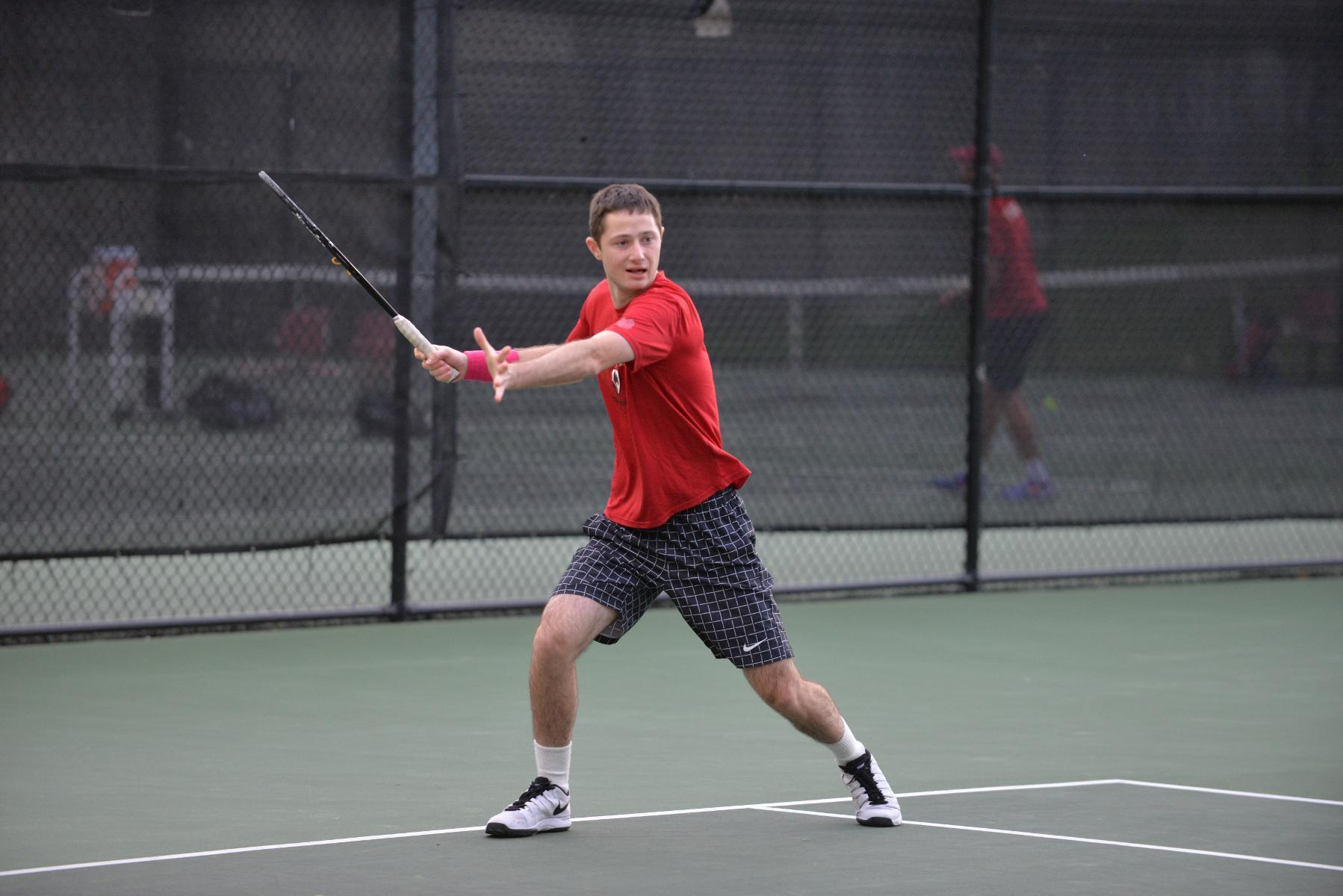 Sophomore Daniel Levine's victory in first singles marked the first point and beginning of the team comeback. (credit: CMU Athletics)