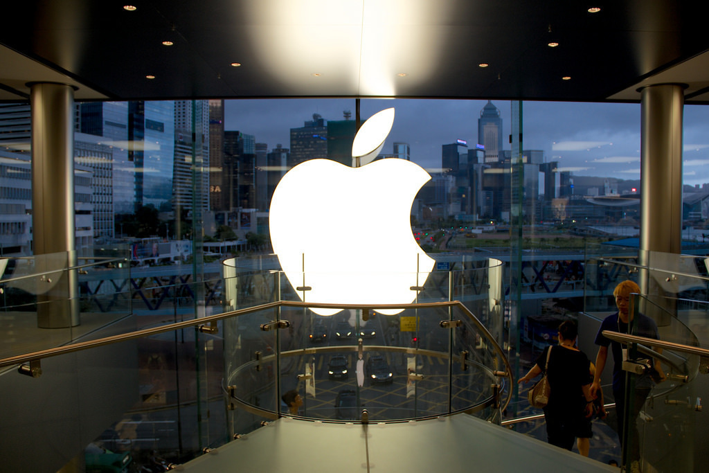 An Apple store in Hong Kong displays the company's logo. This store may undergo massive renovation as well. (credit: Courtesy of DavidSandoz, via Flickr Creative Commons)