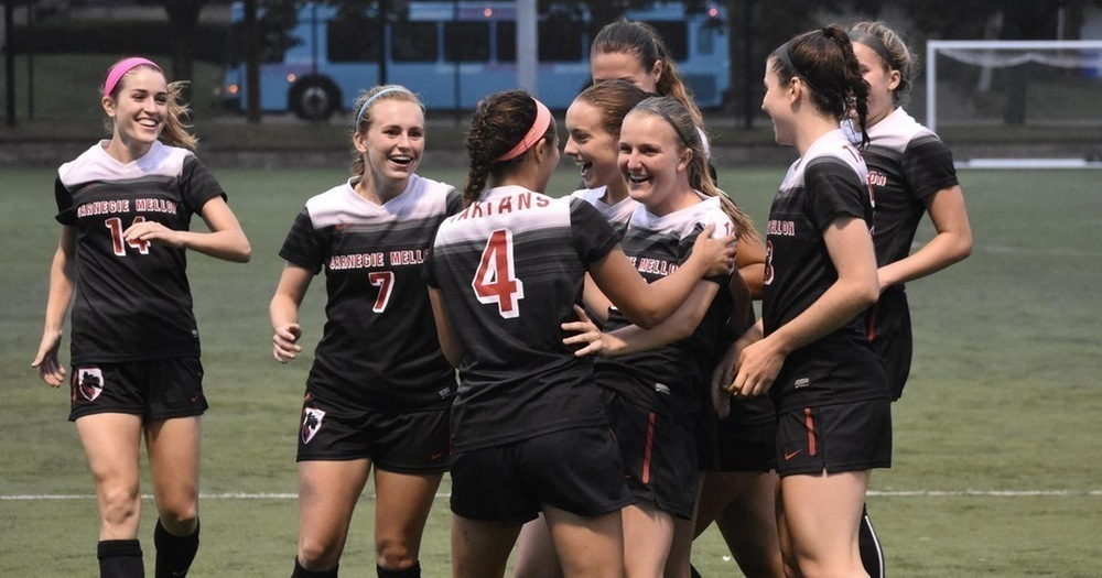 The women's soccer team celebrates their second victory of the season after blowing out Bridgewater College. (credit: Courtesy of CMU Athletics)