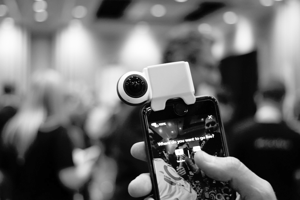The Giroptic iO 360 Camera that functions as a smartphone attachment and allows users to take high-quality 360 degree selfies. (credit: Maurizio Pesce via Flickr Creative Commons)
