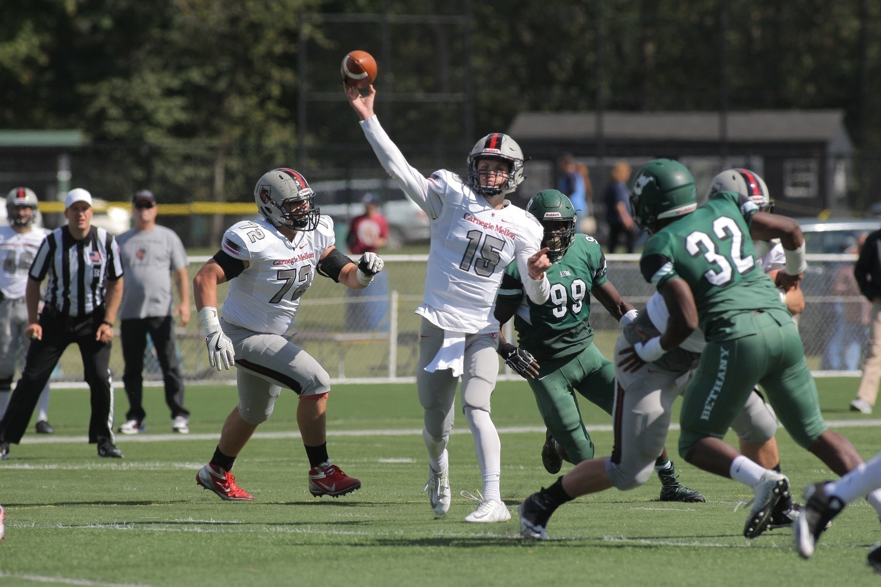 Junior quarterback Alex Cline identifies an open target. The Tartans dominated on offense and defense. (credit: Courtesy of CMU Athletics)
