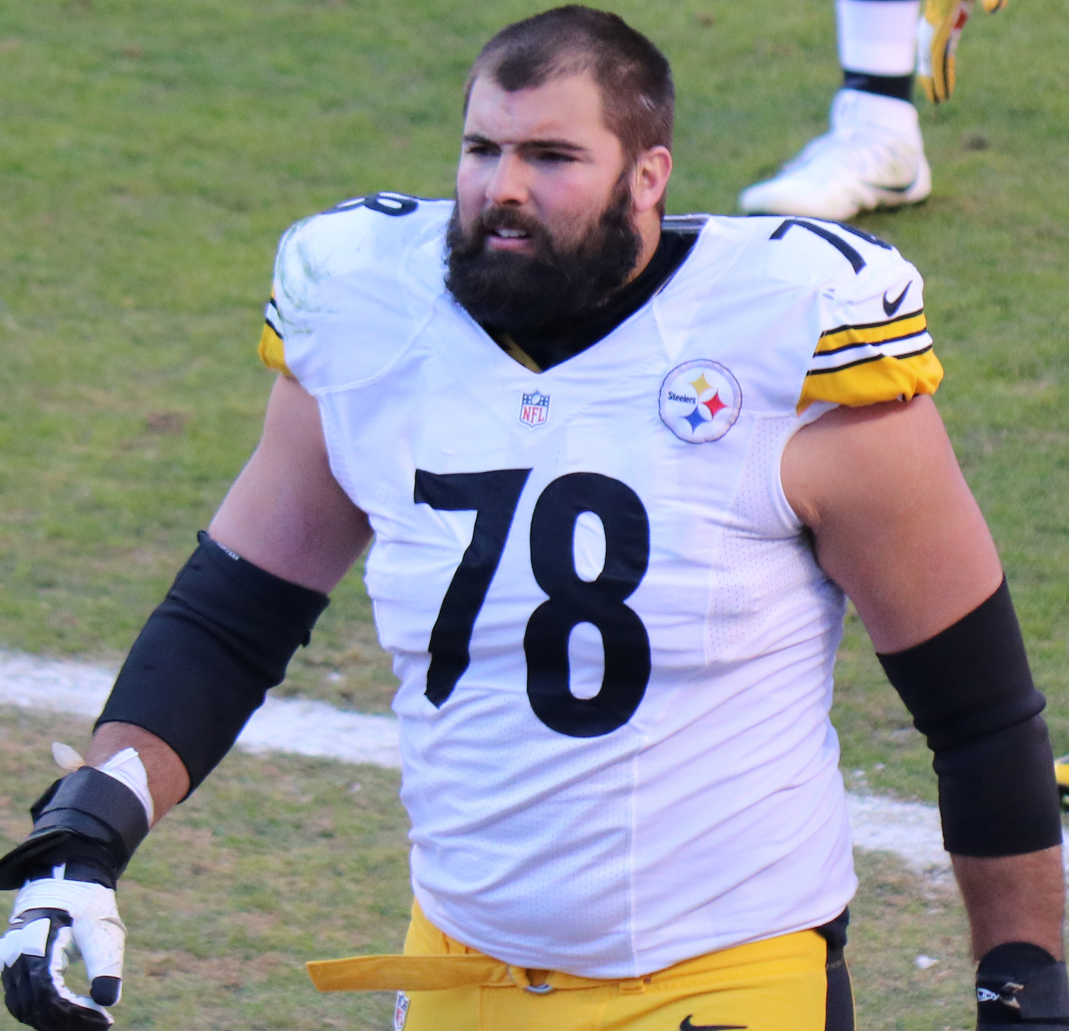 Left tackle Alejandro Villanueva became a counterprotest symbol. (credit: Courtesy of Jeffrey Beall via Flickr Wikimedia Commons)