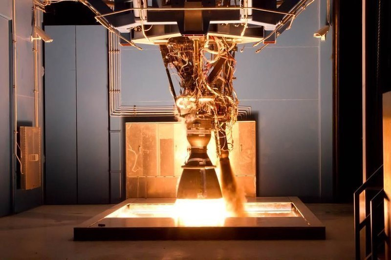 This photograph, taken at SpaceX's Rocket Development Facility in Texas, shows a Merlin 1D engine in action. The Merlin engines power SpaceX's Falcon rockets, one of which exploded this week in testing. (credit: Courtesy of SpaceX via Wikimedia Commons)