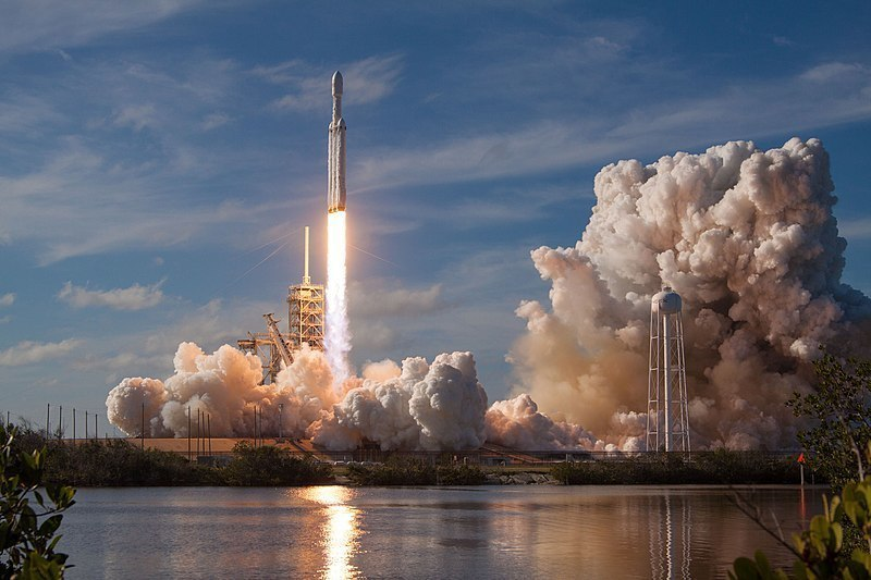 The Falcon Heavy was launched on Feb. 6, 2018 from the Kennedy LC-39A SpaceX South Texas Launch Site. It is the highest-capacity rocket to in current operation, doubling Delta IV Heavy's payload. (credit: Courtesy of SpaceX via Wikimedia Commons)
