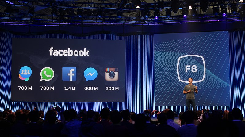 Facebook shares its userbase statistics at the F8 conference. The company also owns WhatsApp, Instagram, and other popular apps. (credit: Courtesy of Maurizio Pesce via Wikimedia Commons)