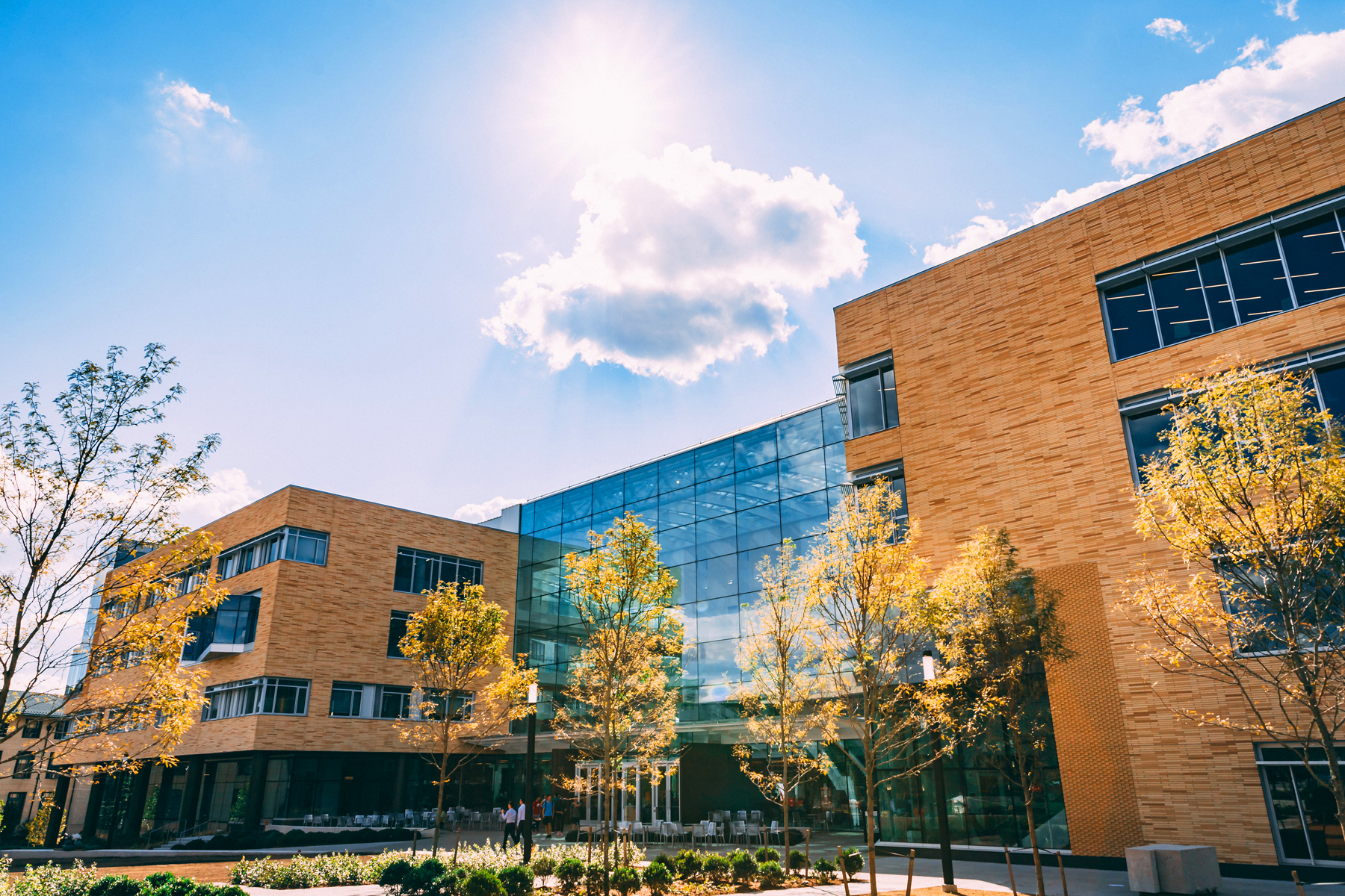 Construction of the new home of Carnegie Mellon's Tepper School of Business was completed in fall 2018. The building was designed to be environmentally sustainable despite its massive footprint.