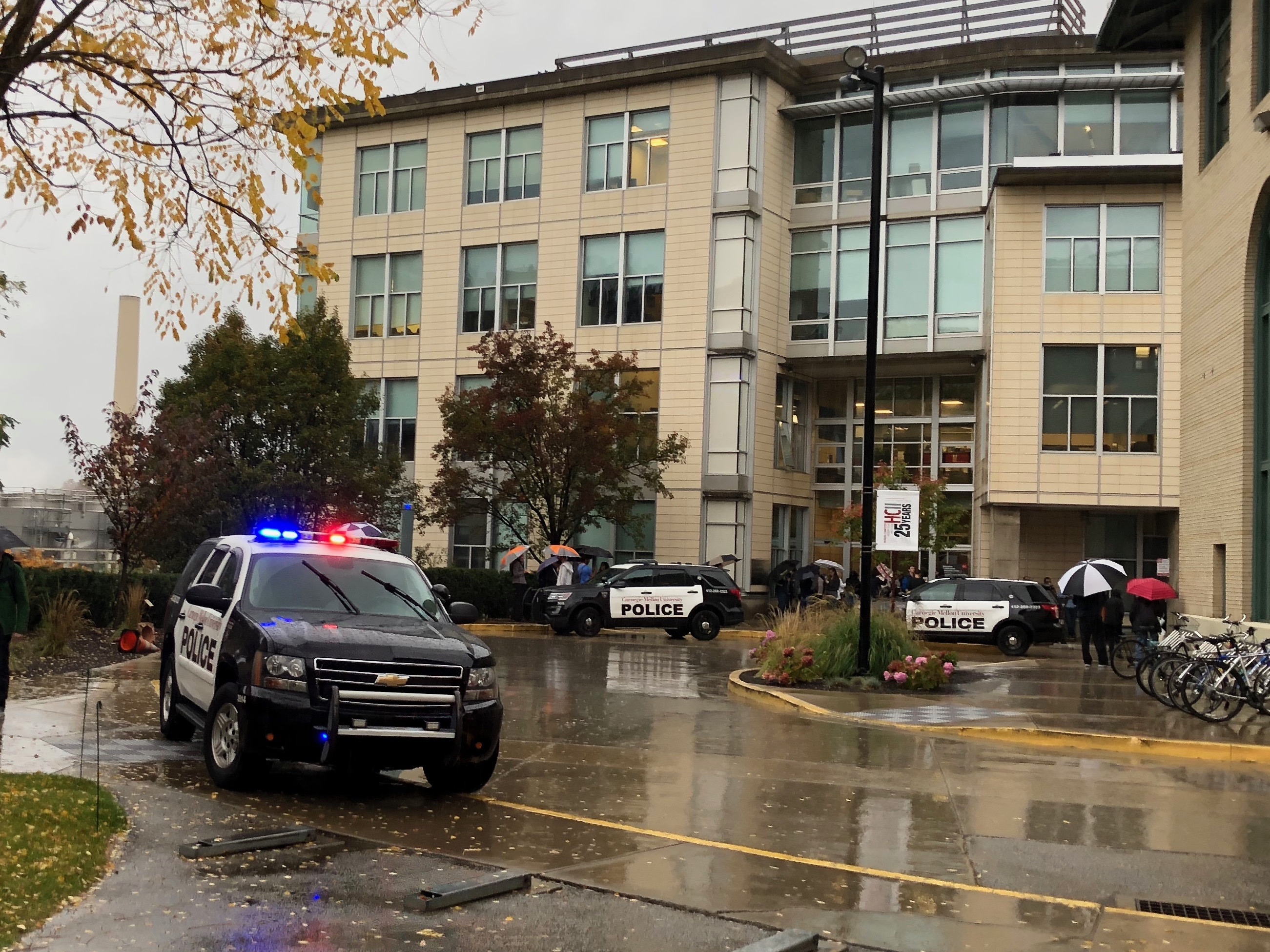 Carnegie Mellon police respond to the Collaborative Innovation Center after a car fire broke out in the building's garage.