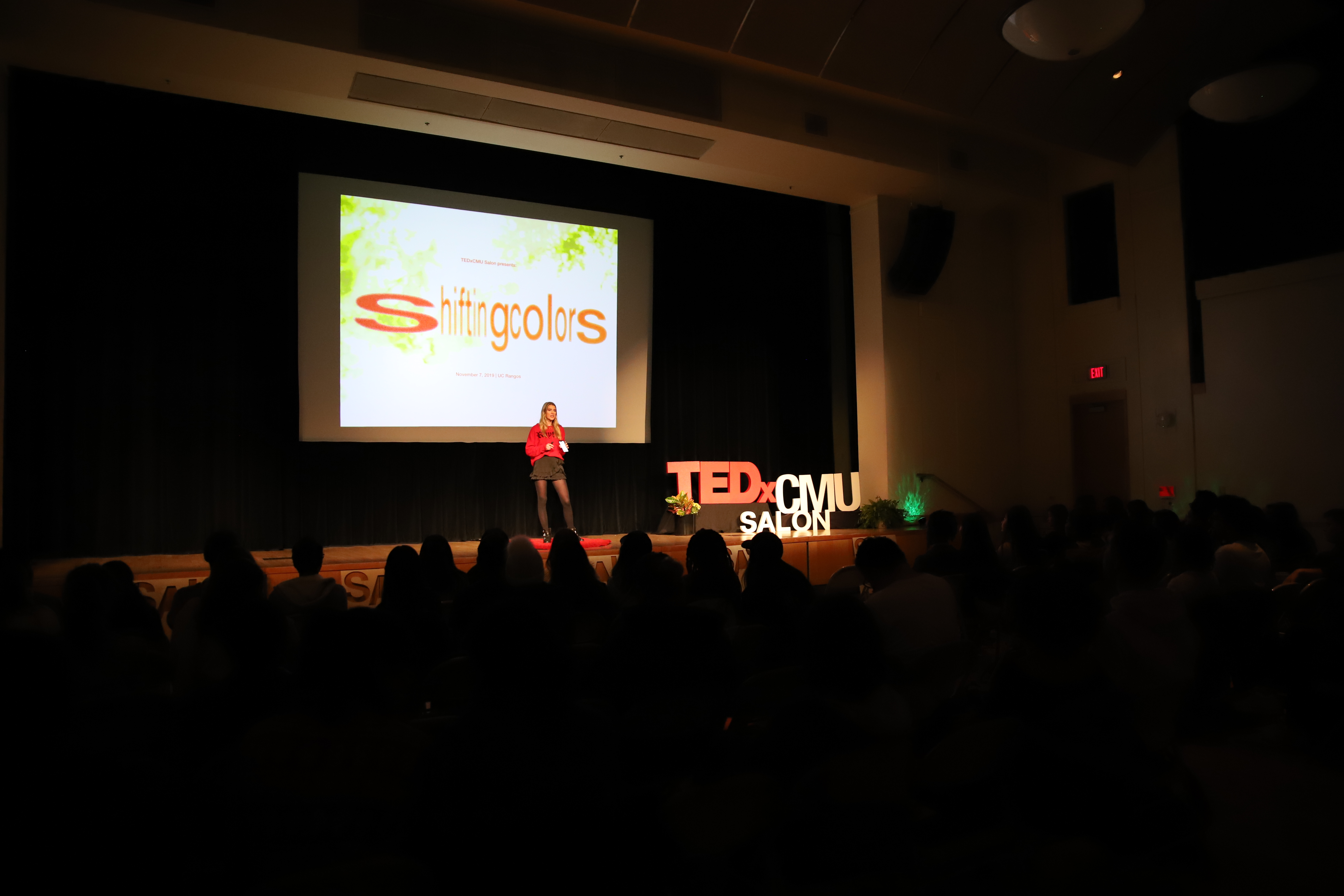 Alona Beloussova, one of the main organizers of TEDxCMU's Salon event, introduces this year's theme. It was the first year of the event, which presents student speakers. (credit: Courtesy of Haozhe Zhang, TEDxCMU)
