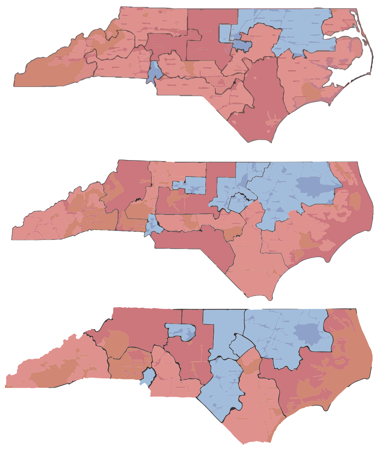 Old, new, and nonpartisan (top to bottom) district maps for North Carolina. The nonpartisan variant was drawn by Daily Kos writer Stephen Wolf, similar to the new map recently passed by the state legislature, but with another district won by Clinton in 2016.