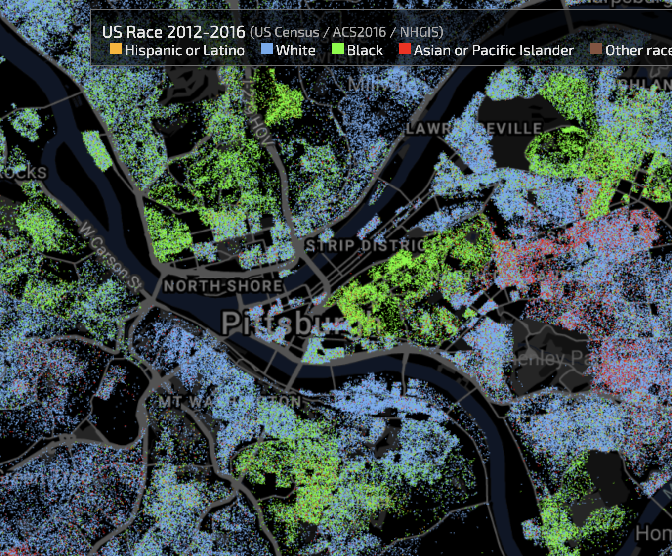 A map showing the racial density of different neighborhoods of Pittsburgh. (credit: Courtesy of EarthTime)