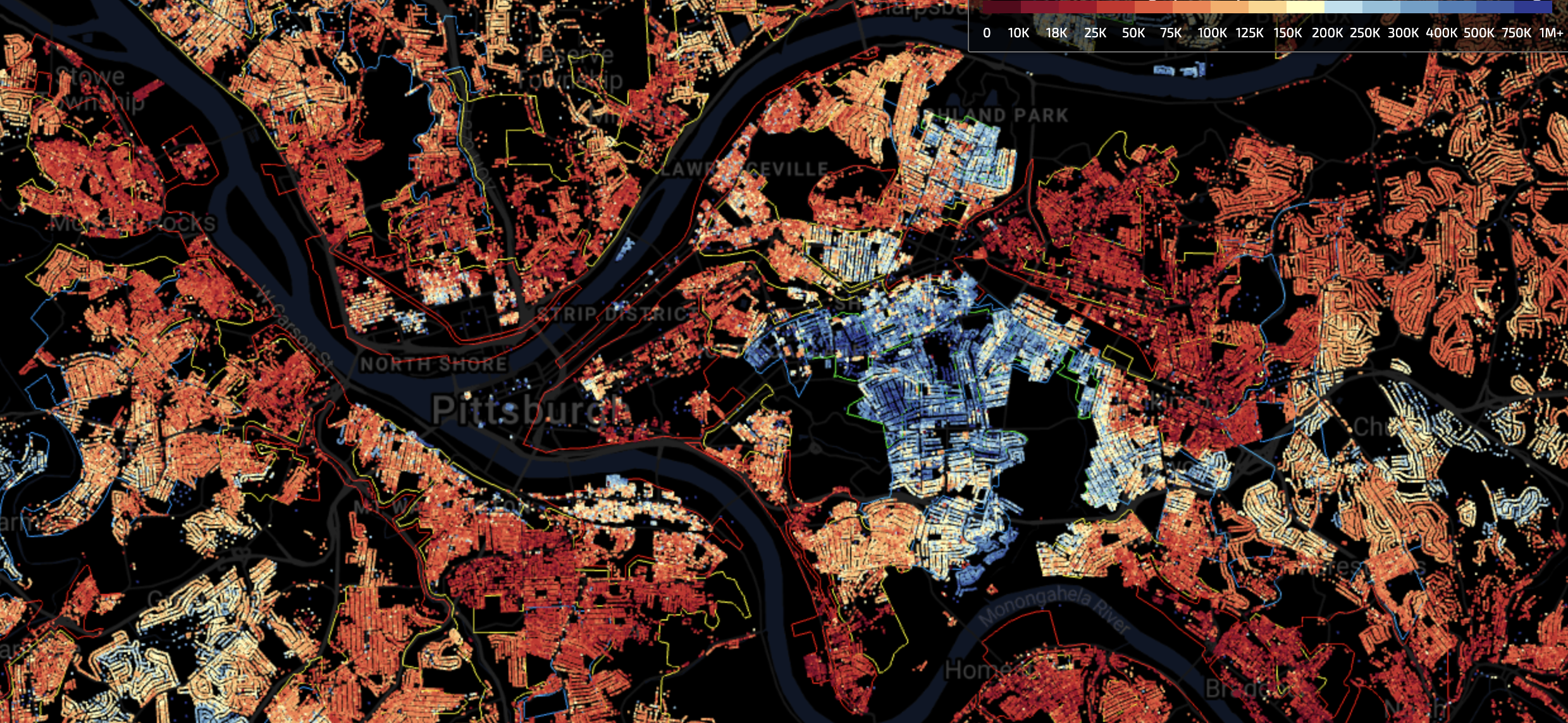 A map showing the median property values of houses in Pittsburgh delineated against school district boundaries. Red indicates low values, blue indicates high values. (credit: Courtesy of EarthTime)