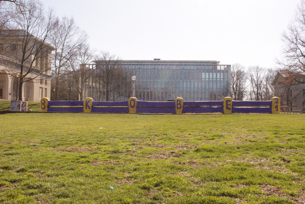 CMU students have painted the Fence in the Lakers' colors, with Kobe Bryant's jersey numbers on the ends.