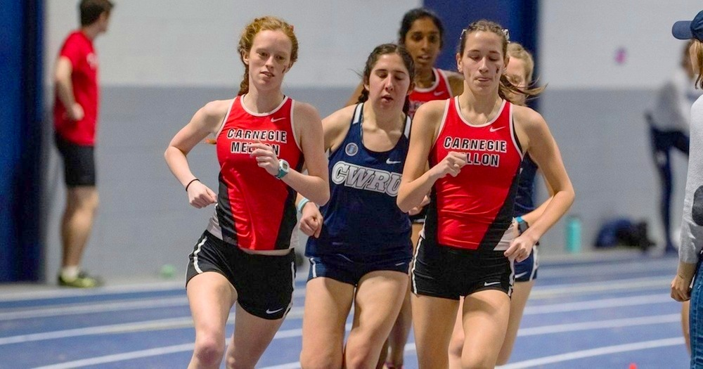 Senior Abigail Levine (left) won the 3000 as teammate Kristen Seballos (right) placed fourth. (credit: Photo courtesy of Carnegie Mellon Athletics)