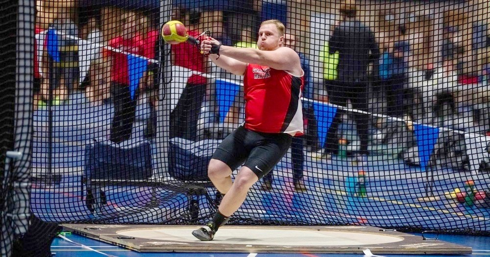 Junior Logan Stahl tossed a seasonal best to win the weight throw as the Carnegie Mellon University men's track team placed first at the Noke Elite Meet. (credit: Photo courtesy of Carnegie Mellon Athletics)
