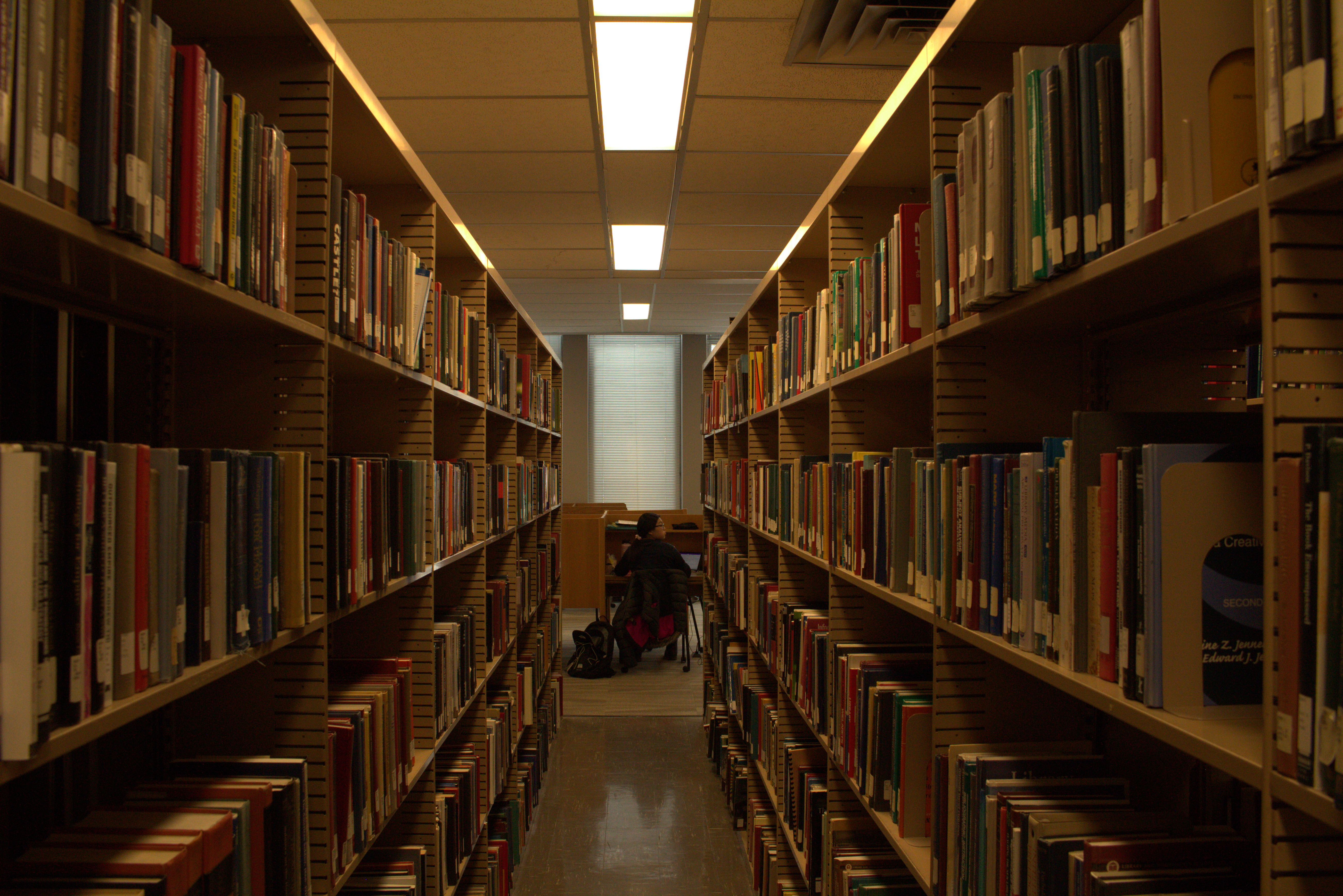 A student studies on the third floor of Hunt Library. The quiet study areas on the floor surround several stacks of books, which take up about half of the floor.