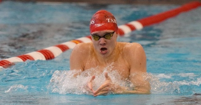 Colin Daniel bettered his seed time by over nine seconds in the 200-yard breaststroke to set one of several school records achieved at Kenyon College. (credit: Photo courtesy of Carnegie Mellon Athletics)