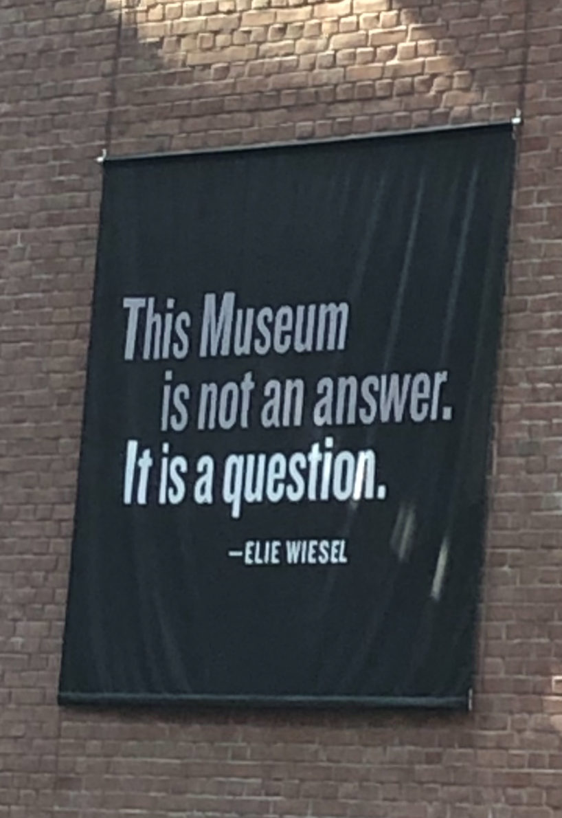 The banner that hangs from the walls of the Holocaust Museum in Washington, D.C. (credit: Sarah Abrams/)