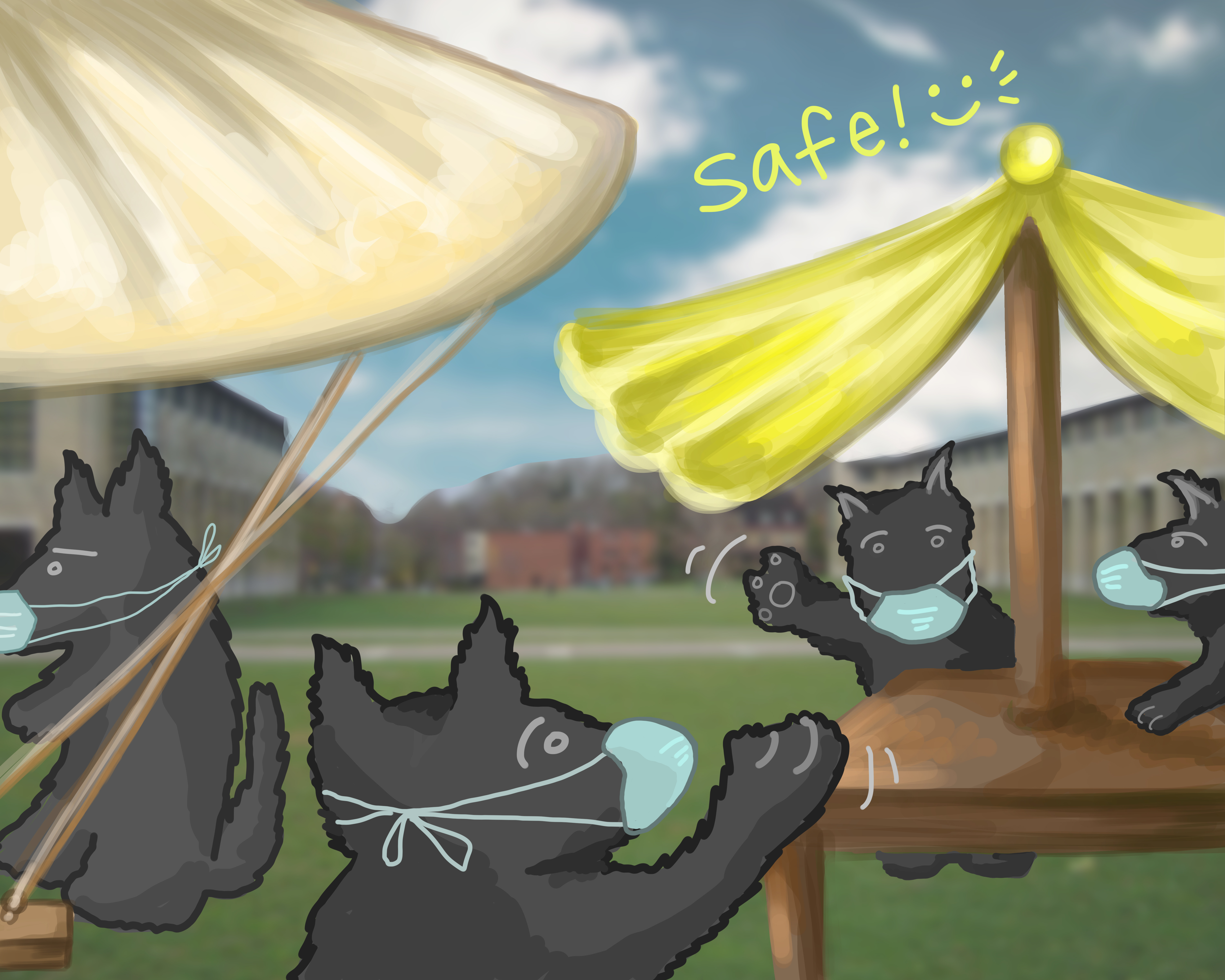Safe outdoor spaces can help alleviate student loneliness during the pandemic. (credit: Stacey Cho/Art Editor )